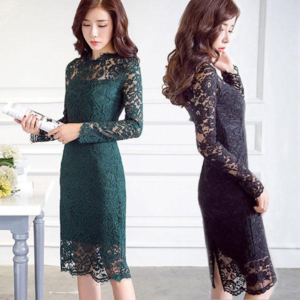 洋裝 韓版 镂空蕾絲修身中長款長袖連衣裙 小禮服