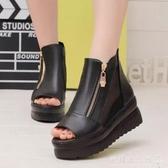 韓版魚嘴涼鞋女鞋時尚坡跟厚底鬆糕鞋網紗性感高跟鞋 歐韓流行館