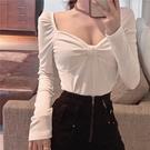 低胸上衣 新款網紅蝴蝶結長袖打底上衣女裝韓版ins方領百搭t恤潮