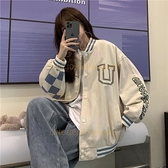 棋盘格棒球服外套女 美式bf复古高街学生夹克上衣【少女顏究院】