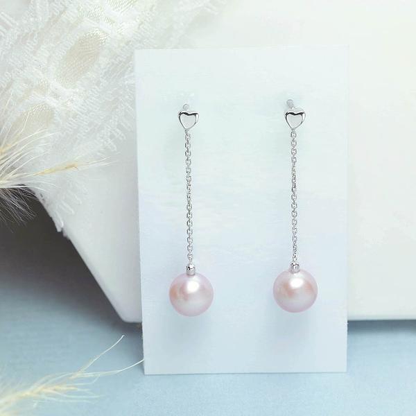 【鑽石屋】粉色珍珠耳環 天然彩珠
