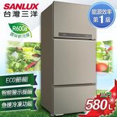 (三洋送好禮)SANLUX 台灣三洋 580L 1級能效變頻三門電冰箱 SR-C580CV1A 含原廠配送及拆箱定位