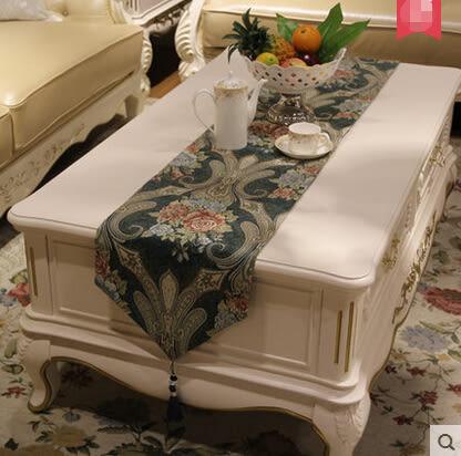 桌旗歐式奢華中式桌布美式鄉村雪尼爾電視櫃茶几布百搭床尾巾 32*210cm