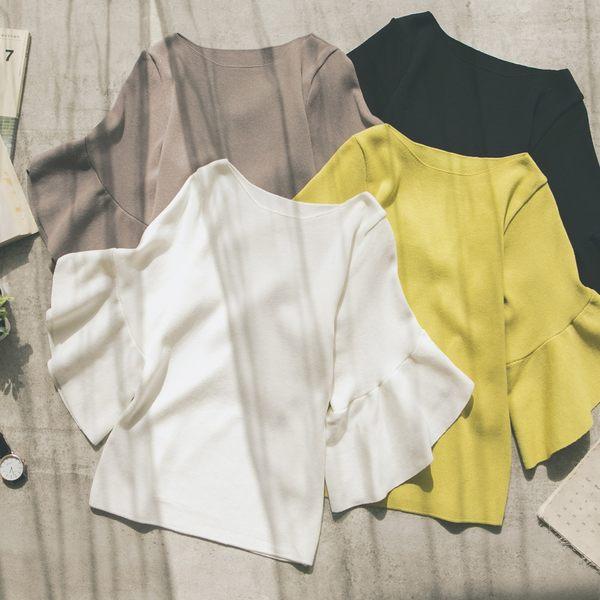 MUMU【T50136】大圓領五分花苞袖針織上衣。四色