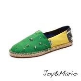 【Joy&Mario】鉚釘巴西國旗草編鞋 - 01120W GREEN