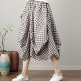 漂亮小媽咪 原創設計燈籠裙 【S3129】 棉麻 大方格 口袋 花苞 長裙 縮緊 不規則 燈籠裙