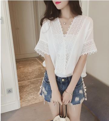 【GZ3E1】韓版上衣 寬鬆顯瘦蕾絲雪紡衫 V領鏤空短袖上衣