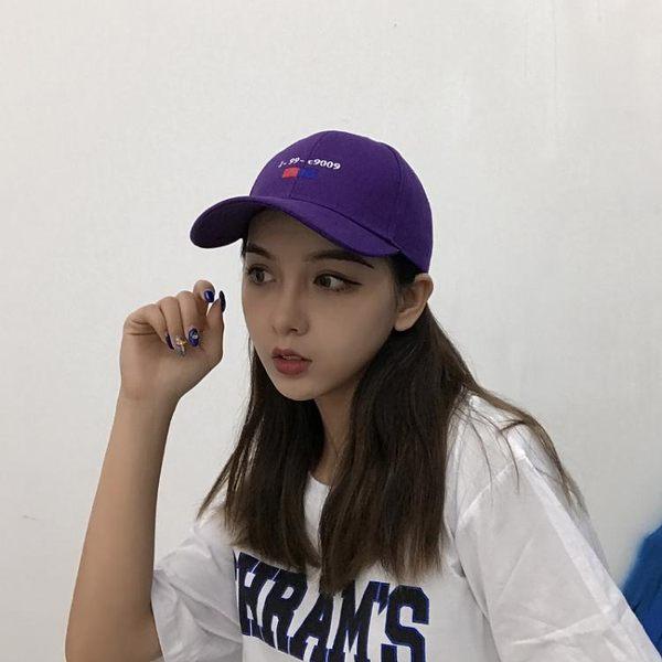 棒球帽 正韓時尚紫色人街頭彎檐女情侶百搭字母