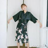 浴袍 居家寬鬆仙鶴睡衣性感睡袍家居服可外穿大碼浴袍 新品