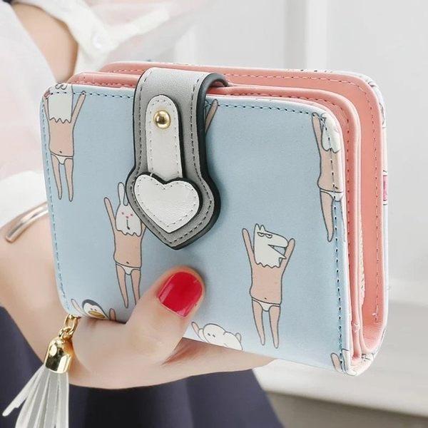 短夾-可愛塗鴉趣味卡通圖案動物撞色印花流蘇拉鏈手機包皮夾錢包#9492