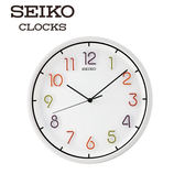 SEIKO 精工掛鐘 彩色立體數字滑動秒針靜音掛鐘 32cm  公司貨保固1年 QXA447H| 名人鐘錶高雄門市