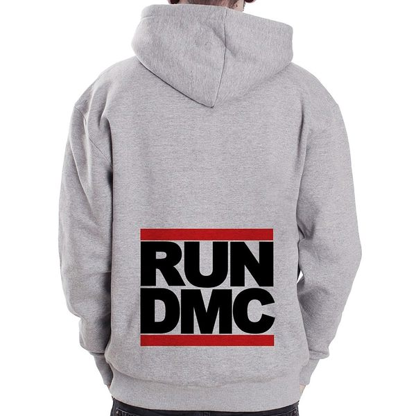 RUN DMC金屬拉鍊連帽刷毛外套-灰色 hip hop rap
