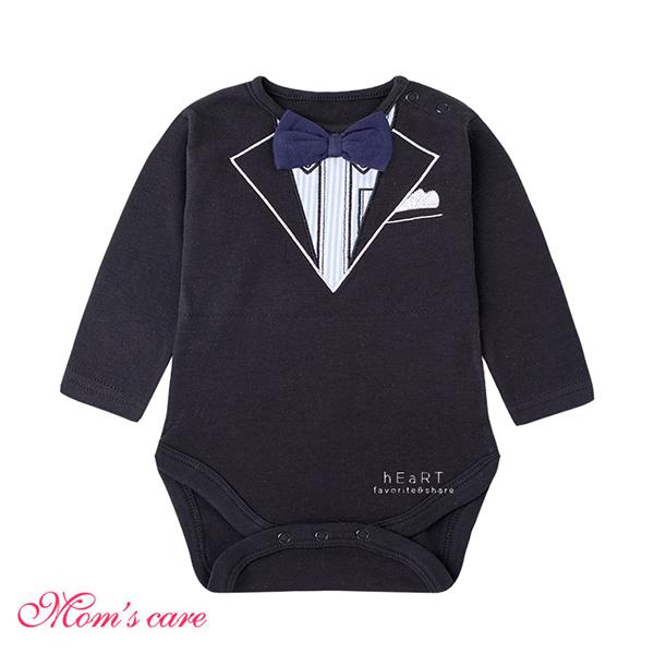 Moms care紳士黑西裝長袖包屁衣 連體衣 爬爬服 嬰兒裝 兔裝 哈衣