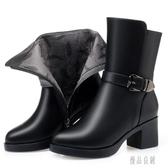 大尺碼秋冬季女靴2019新款馬丁靴粗跟高跟冬季中筒加絨短靴 XN7841【優品良鋪】