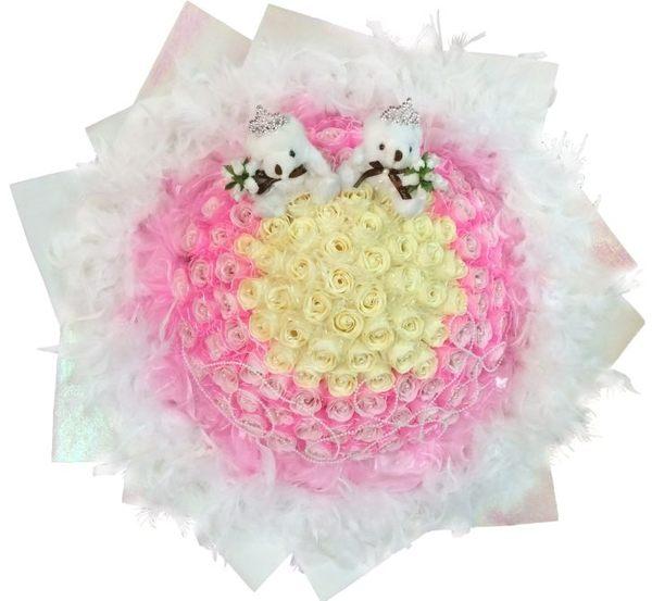 娃娃屋樂園~求婚花束108朵+2隻熊 每束2800元/情人節花束/婚禮小物