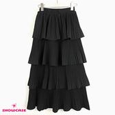 【SHOWCASE】韓版唯美多層細褶顯瘦A字中長裙(黑)