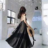 夏裝新款女復古氣質性感露背綁帶禮服雪紡超大裙擺吊帶連身裙