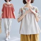 2021夏季新款文藝復古刺繡棉麻T恤女寬松遮肚顯瘦上衣半袖娃娃衫