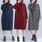 漂亮小媽咪 原創設計洋裝 【D3688】 →超值 長袖 波點 寬鬆 大碼 舒適 保暖夾棉 高領 孕婦裝 長版