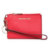 MICHAEL KORS Mercer金LOGO荔枝紋皮革證件零錢手拿包(亮紅色)618099-17