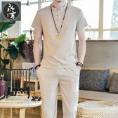 唐装-夏季棉麻t恤套裝男士中國風大碼短袖唐裝青年休閒運動速幹兩件套