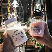 簡約韓版玻璃杯大容量提繩水杯子多功能創意花茶杯男女學生帶蓋杯【卡米優品】