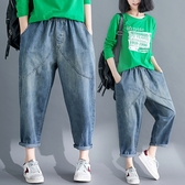 微購【A4518】鬆緊腰大口袋牛仔褲 M-3XL