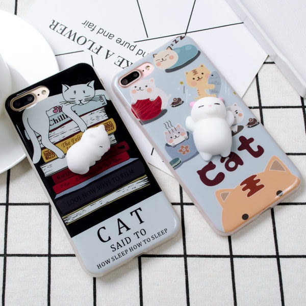 【SZ25】iPhone 7/8手機殼 iPhone 6s軟趴趴 療癒可愛 立體貓咪 全包 軟殼iPhone 7/8 plus iPhone 6s plus手機殼