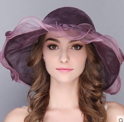夏天韓版防曬可折疊真絲遮陽帽渡假出遊沙灘帽子  -charle0030