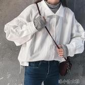設計感小眾上衣女初秋新款韓版寬鬆學生百搭polo領白色  『洛小仙女鞋』