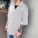 【OBIYUAN】短袖衣服 韓國製 寬鬆 落肩 粗坑條 POLO衫寬鬆 素面上衣 【P98846】
