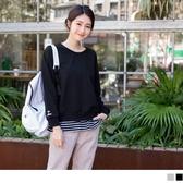 《AB6041-》純色高含棉拼接橫條紋袖口刺繡假兩件衛衣上衣 OB嚴選