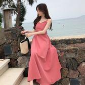 洋裝  露背綁帶長裙沙灘裙百搭高腰顯瘦純色洋裝女 中秋節特惠下殺