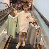 女童洋裝洋氣兒童裝裙子新款韓版大童裝女孩春季衛衣裙 快速出貨