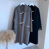 毛呢外套-長版羊毛寬鬆牛角扣百搭女大衣2色73zg7[巴黎精品]