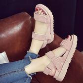 夏季新款涼鞋女韓版百搭女鞋學生鬆糕底魔術貼厚底羅馬鞋女鞋【販衣小築】