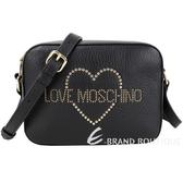 LOVE MOSCHINO 心型鉚釘牛皮相機包(黑色)1930117-01
