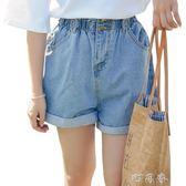 LRUD牛仔褲短褲女夏韓版學生高腰捲邊寬鬆百搭寬管褲熱褲 盯目家