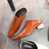包頭半拖鞋女2019新款韓版百搭穆勒鞋粗跟尖頭懶人拖鞋外穿女鞋