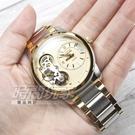 NATURALLY JOJO 晶鑽雙色 石英+機械 雙機芯都會腕錶 不銹鋼錶帶 半金色 JO0014-13K