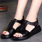 平底涼鞋女學院風夏季羅馬魚嘴軟底防滑平跟厚底學生女鞋