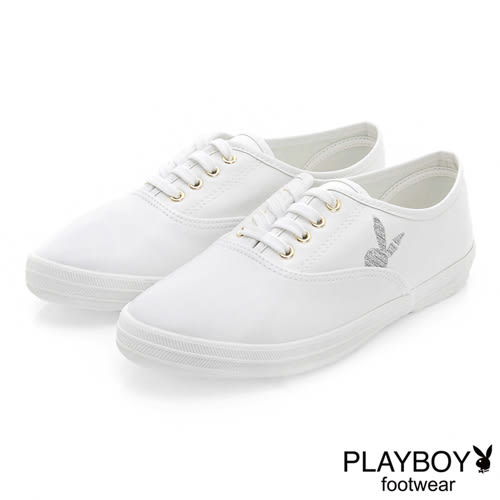 PLAYBOY 潮流最IN 極簡仿皮綁帶休閒鞋-白
