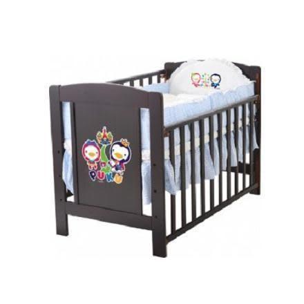 PUKU 藍色企鵝 核桃色古典嬰兒床+七件式寢具組(粉藍/粉紅)
