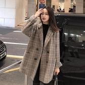 chic韓版寬鬆格子毛呢外套女短款小個子西裝呢子大衣學生秋冬新款 高盛