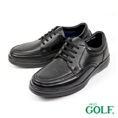【GOLF】日本4E寬楦綁帶手工氣墊休閒鹿皮鞋 黑色(GF5012-BL)