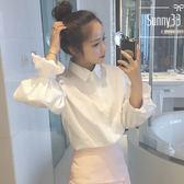 春裝女裝正韓學院風減齡泡泡袖白色襯衫學生寬鬆百搭長袖襯衣上衣【全館免運店鋪有優惠】