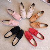 豆豆鞋 單鞋女豆豆鞋時尚一腳蹬圓頭百搭平底黑色平跟軟底工作鞋 瑪麗蘇