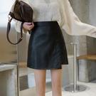 窄裙 2020新款小皮裙半身裙女顯瘦不規則大碼高腰A字裙pu包臀秋冬短裙