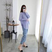 襯衫牛仔褲兩件套L-4XL大碼女裝初秋季新款潮2019年早秋裝洋氣胖妹妹顯瘦套裝R033A-1573