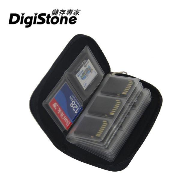 【2件85折】DigiStone 22片裝多功能記憶卡收納包(18SD+4CF)-黑X1P【防震/防潑水】【EVA防靜電材質】